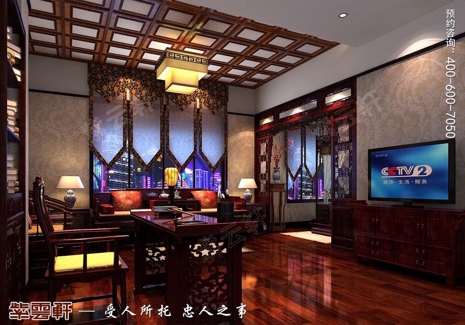 中式宫廷风书房效果图