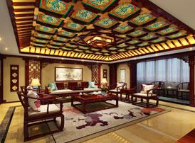 中式宫廷风设计平层豪宅装修效果图 暖意融融,典雅大气