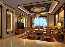山西临汾新中式风格装修平层住宅案例 演绎最大气的优雅
