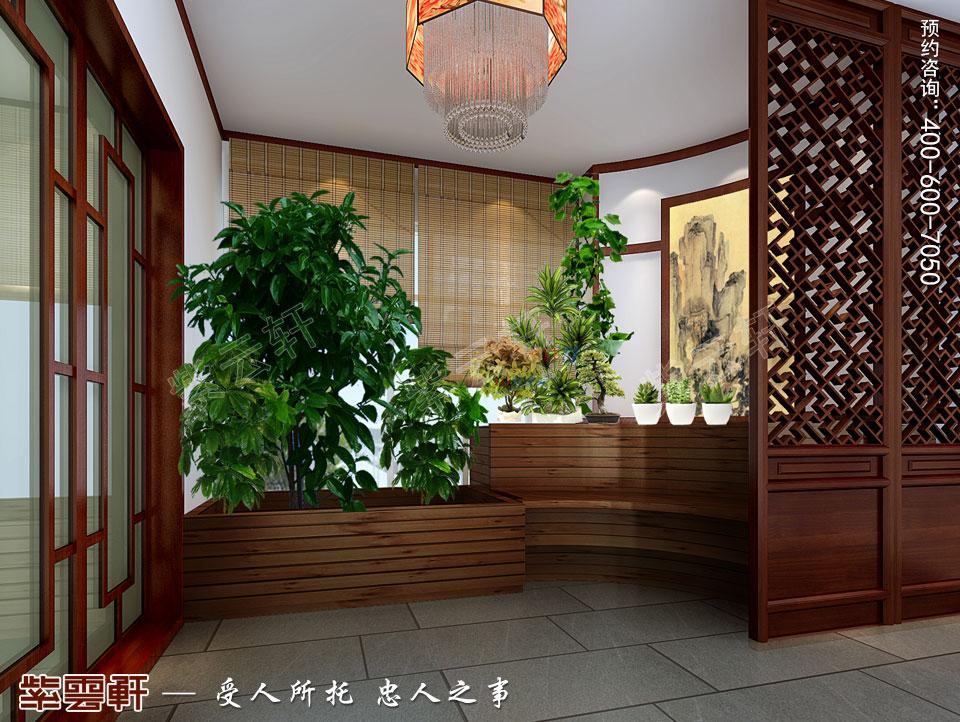 简约中式装修入户花园设计效果图