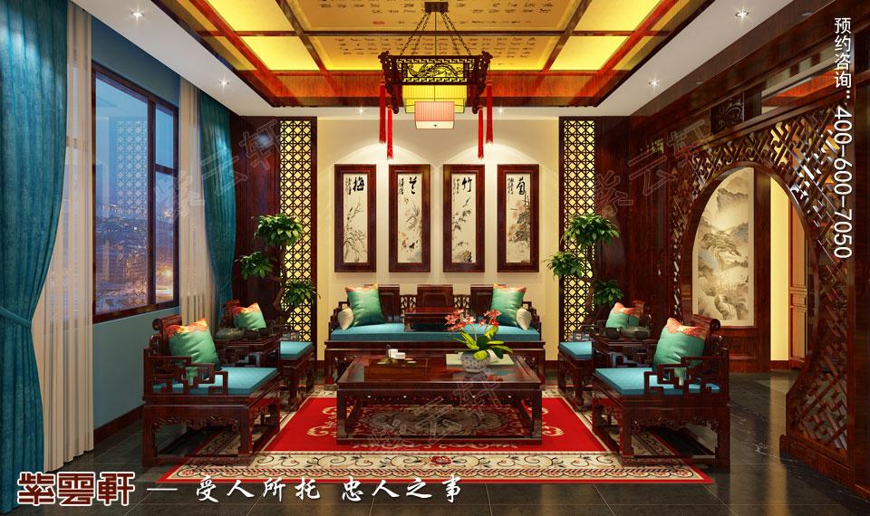 现代中式风格装修起居室效果图
