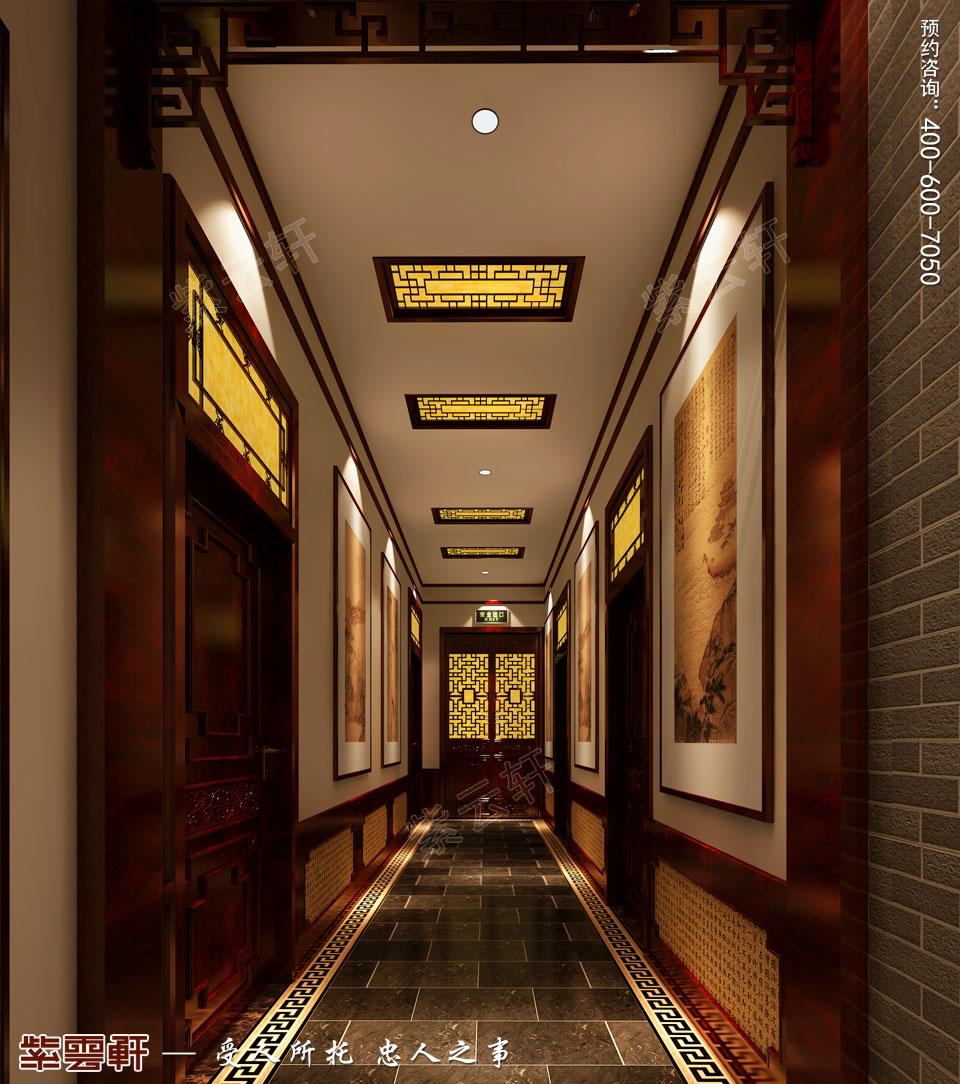 古典中式装修设计私人会所走廊效果图