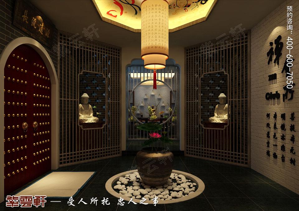 禅茶会所门厅现代中式风格装修效果图