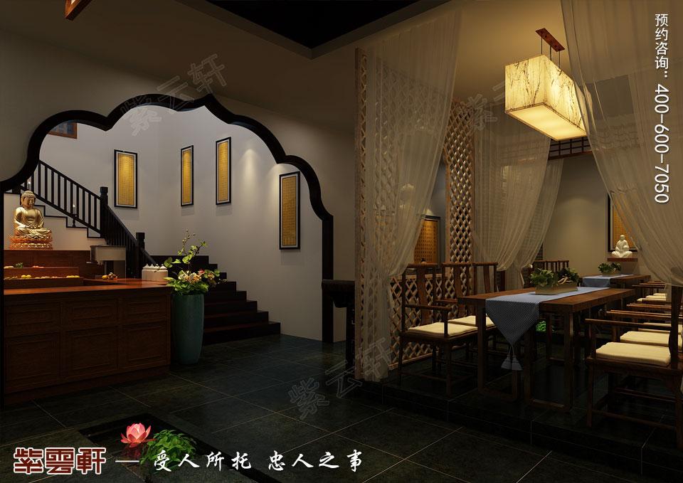 禅茶会所吧台处现代中式风格装修效果图
