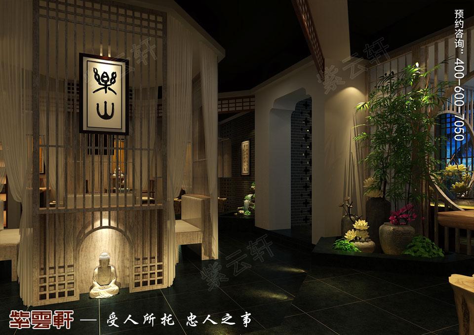 禅茶会所卡座现代中式风格装修效果图