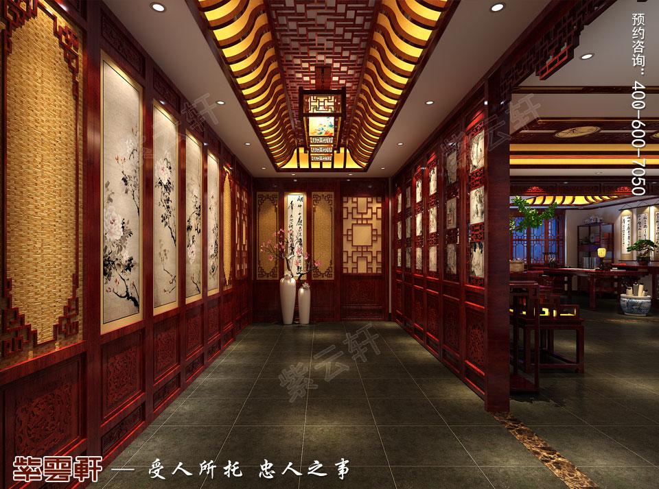 古典中式装修设计私人会所过厅效果图