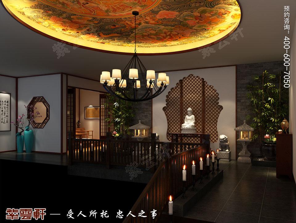 禅茶会所过厅现代中式风格装修效果图