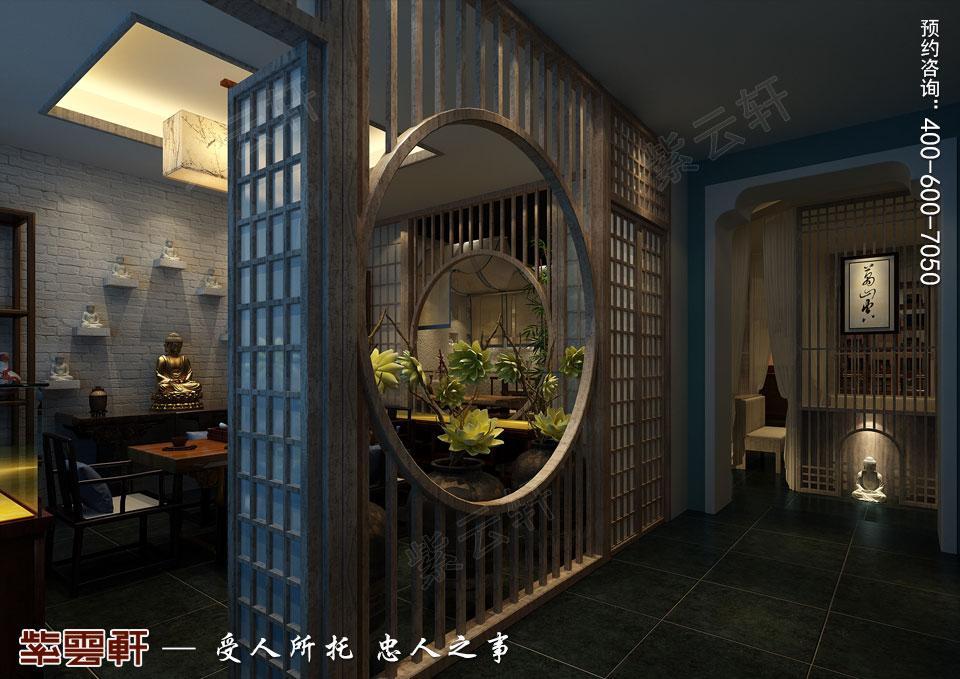 禅茶会所展示区现代中式风格装修效果图