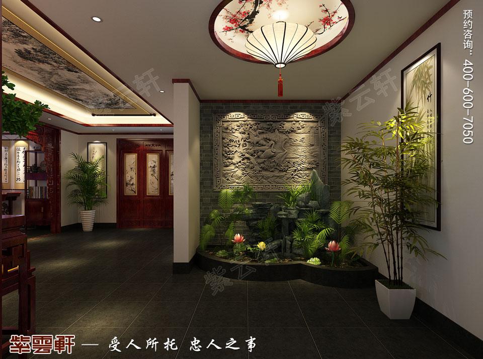 古典中式装修设计私人会所门厅效果图