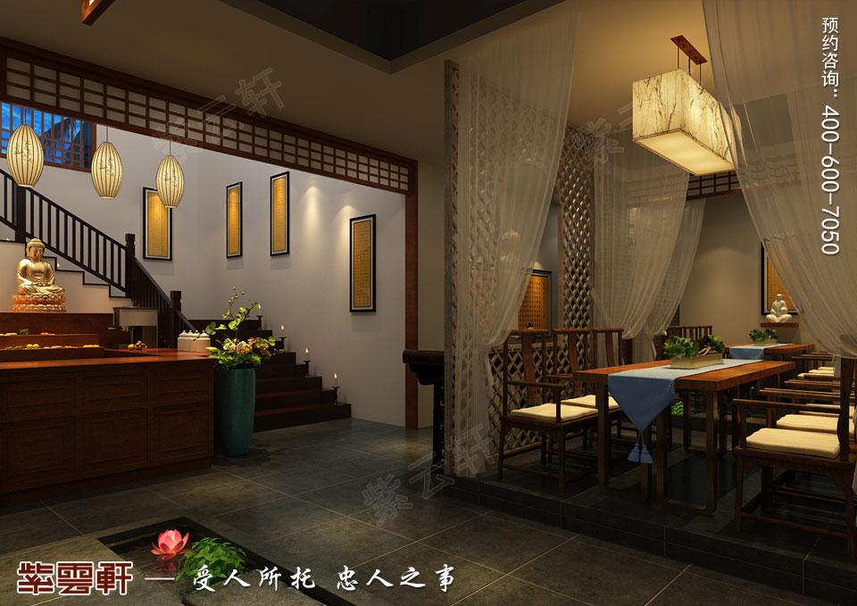禅茶会所楼梯处现代中式风格装修效果图