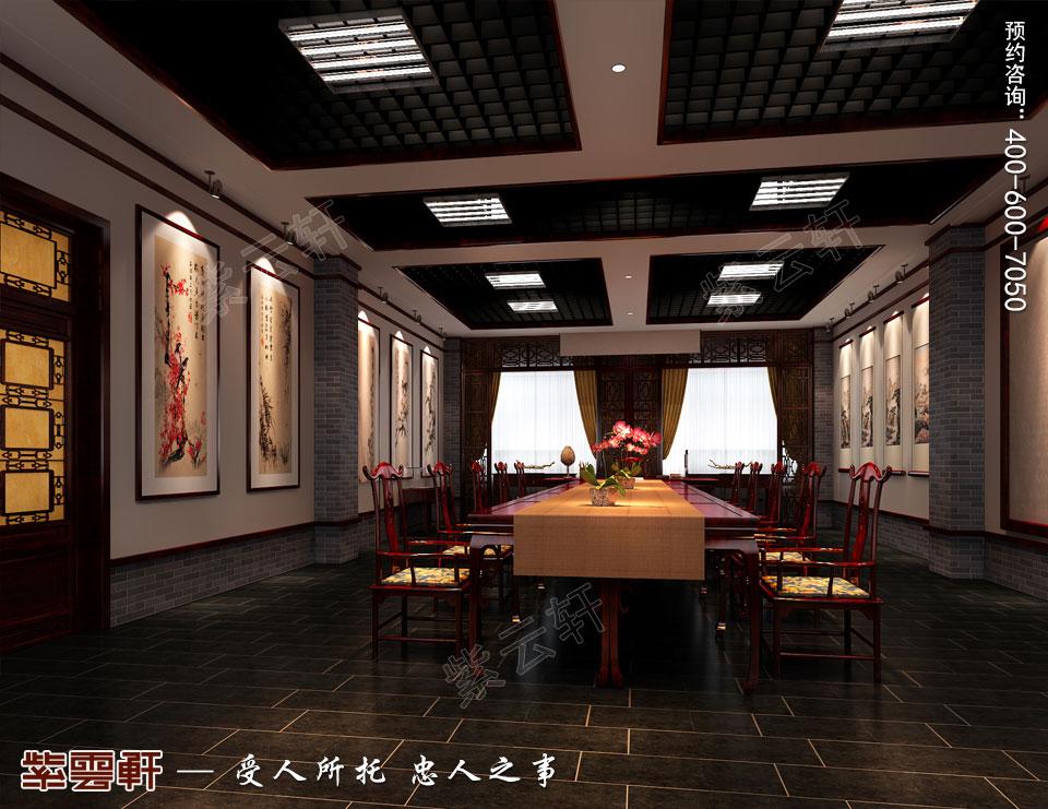 古典中式装修设计私人会所书画展厅效果图
