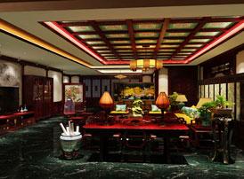 浙江大厦中式装修私人会所案例图片 木格墨彩晕染的华贵空间