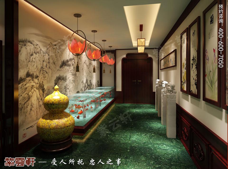 中式装修设计私人会所过厅效果图