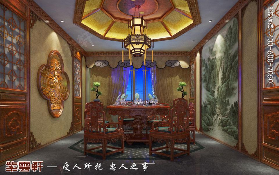 私人会所餐厅田园中式装修图