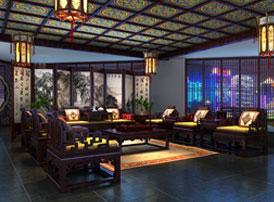 河南南阳淅川私人红木会所古典中式装修案例 古典雅致,世外桃源