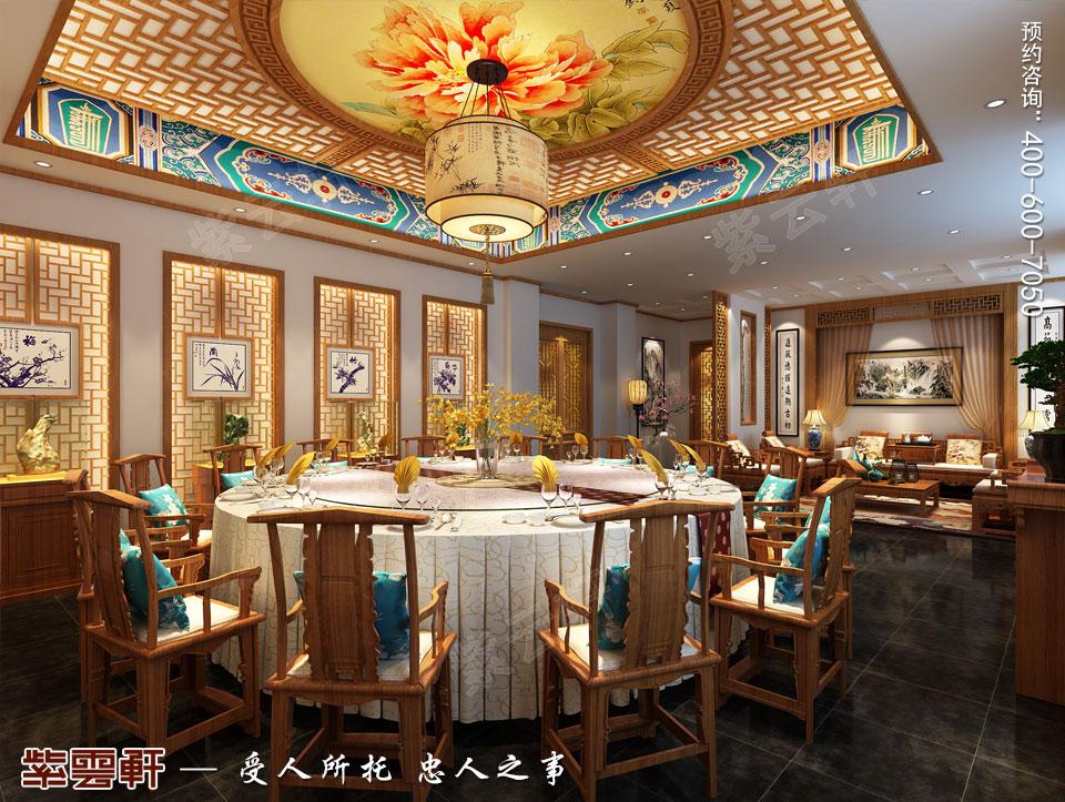 中式风格餐饮会所大包间效果图