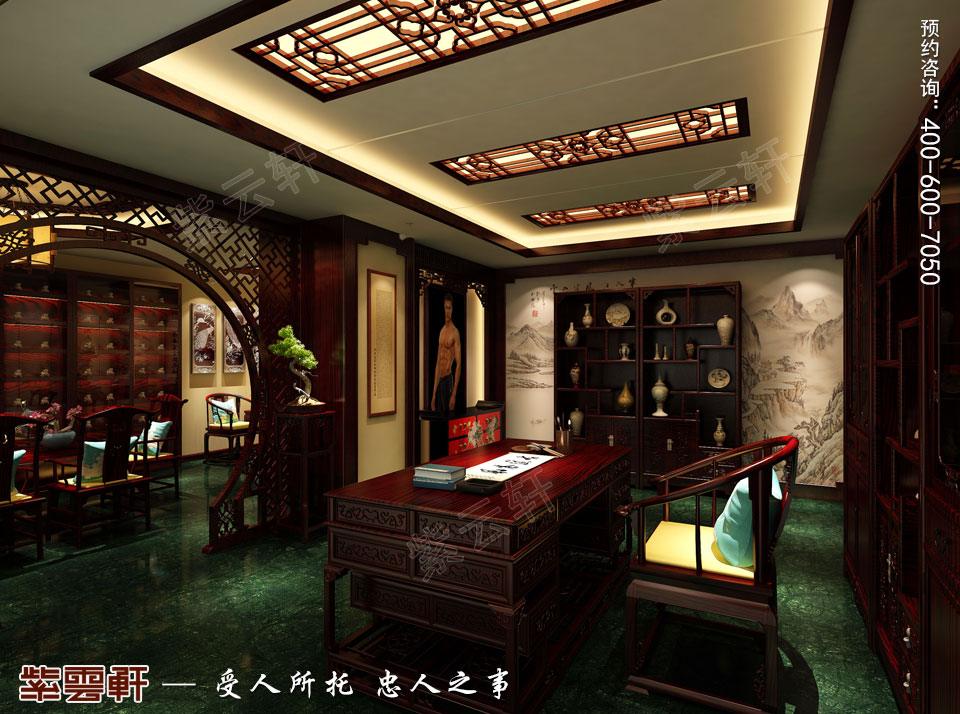 中式装修设计私人会所总经理办公室效果图