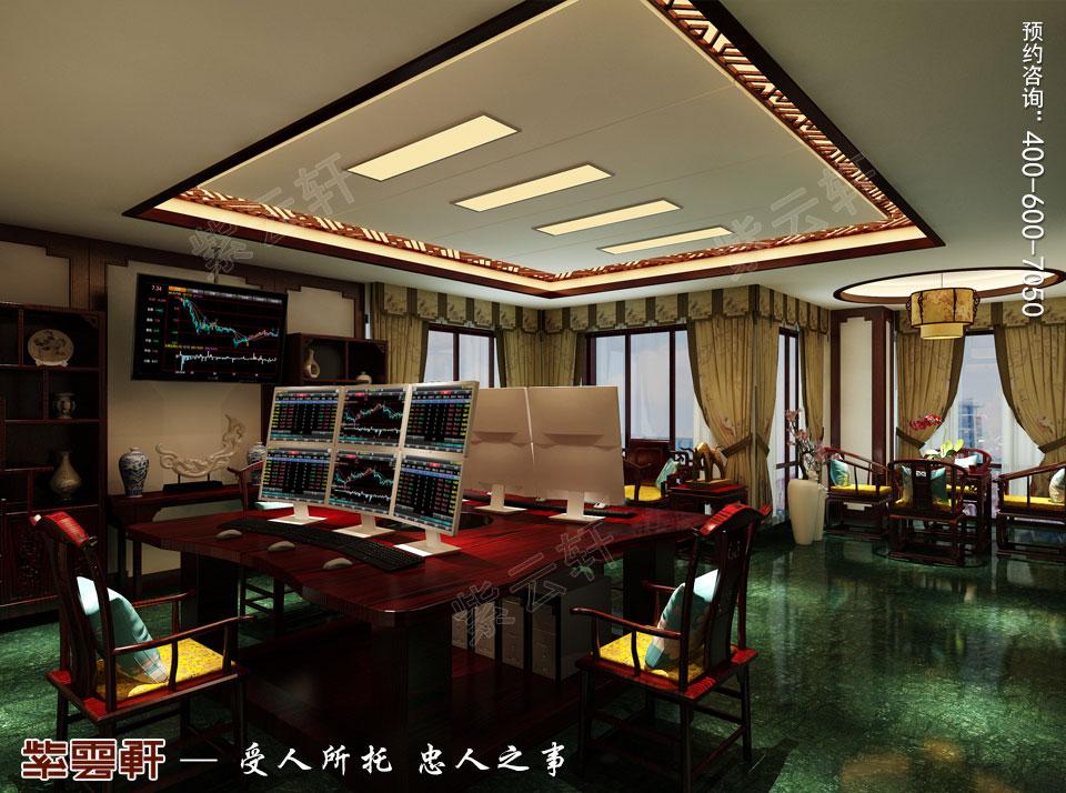 中式装修设计私人会所操盘室效果图