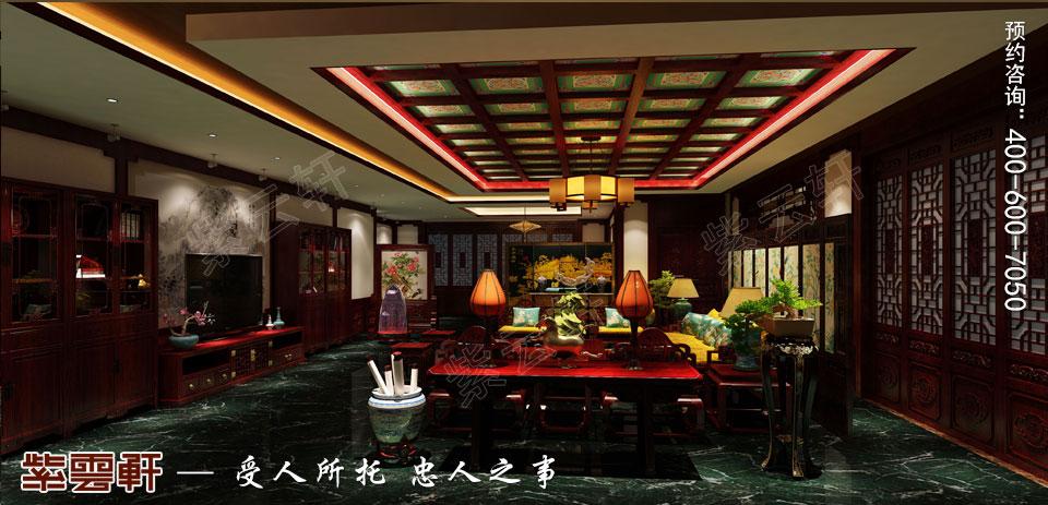 中式装修设计私人会所大厅效果图