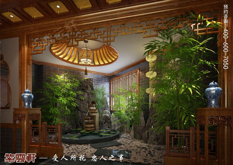 私人会所流水池古典中式装修风格