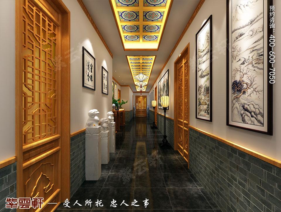 中式风格餐饮会所过廊效果图