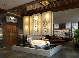 湖北荆山万树会所现代中式装修案例  水静木香,惠风和畅