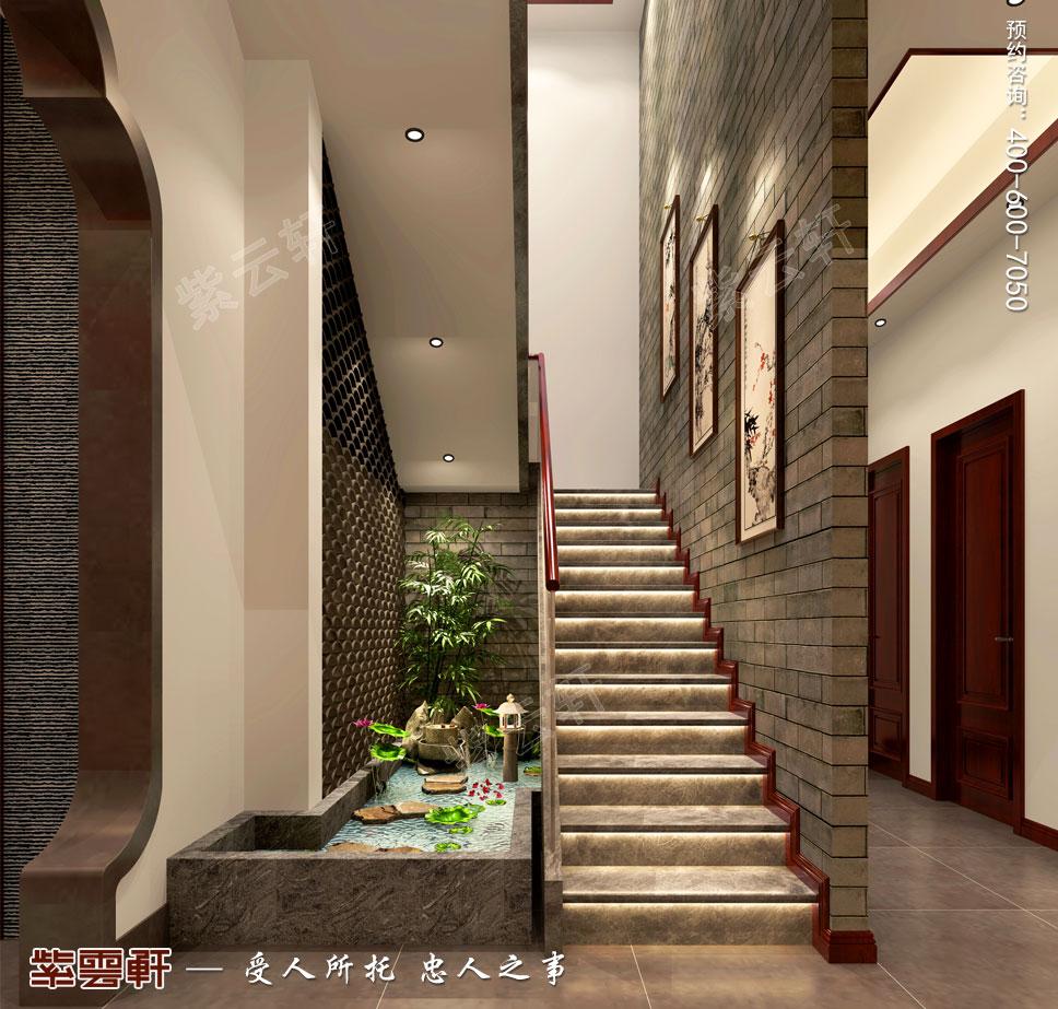 会所楼梯间中式设计