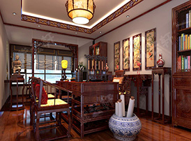 中式风格书房中的装饰与空间感