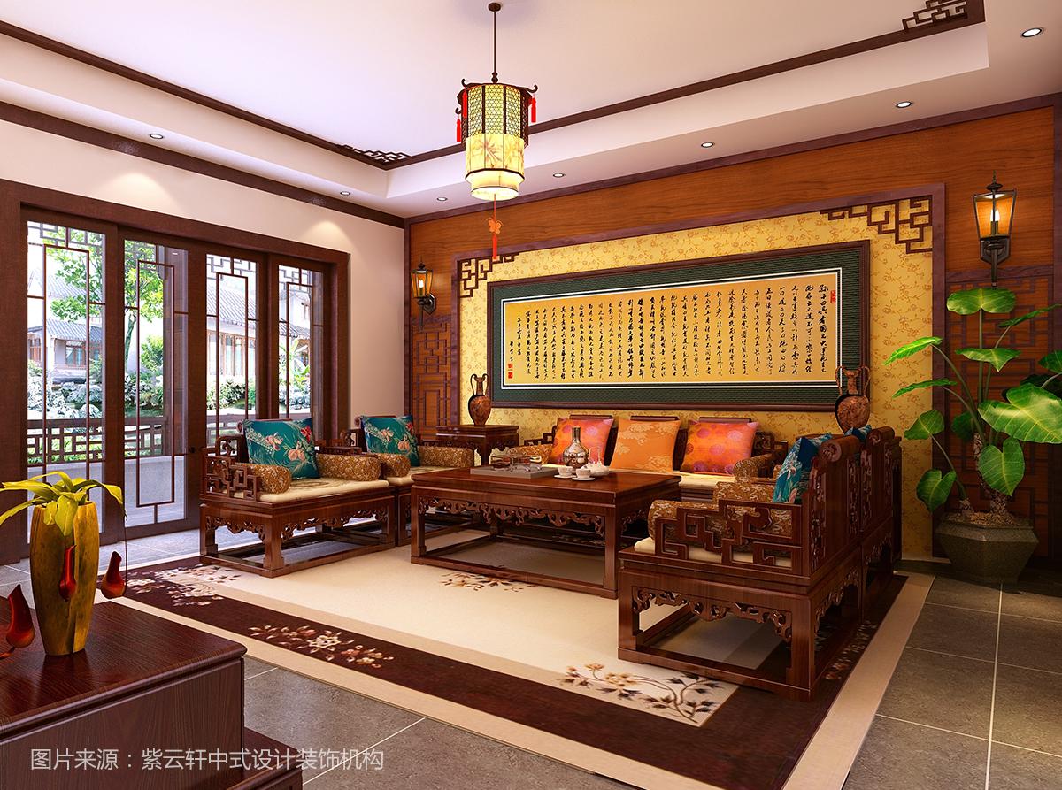 中式装修效果图  客厅欣赏