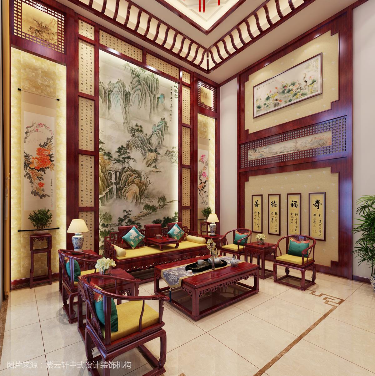 中式装修 别墅餐厅效果图