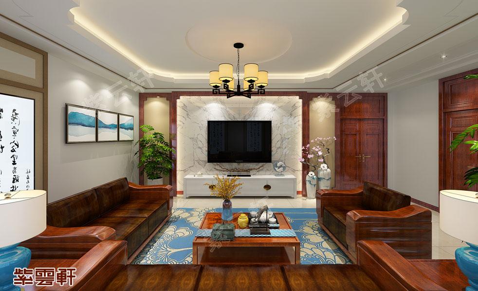 客厅中式装修  刘总二层客厅