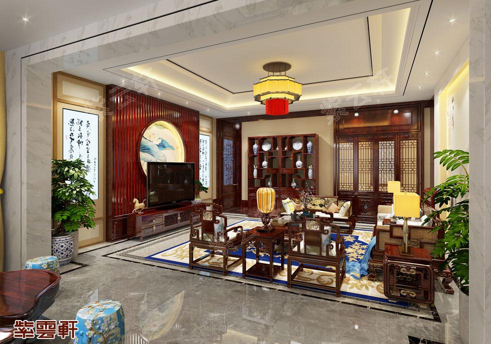 山东刘总客厅中式装修 古色古香