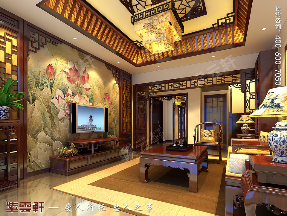客厅平层复古装修