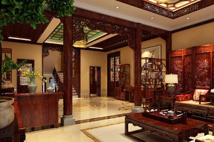 青岛崂山复古中式别墅豪宅装修效果图,散发着传统文化的清灵古韵之美