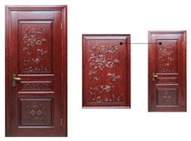 实木雕花门-套装门-古典中式风格原木雕花门