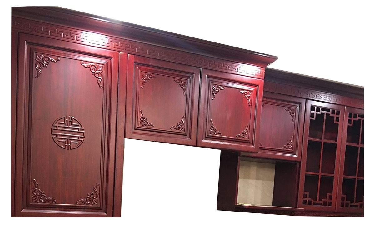 纯实木橱柜-原木橱柜-雕花板橱柜